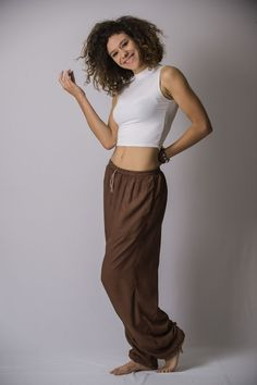 Solid Color Drawstring Women's Yoga Massage Pants in Brown
