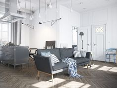 Scandinavian Home Decor Ideas Denis Krasikov designed the perfect Scandinavian design for this apartment. Scandinavian Apartment, Scandinavian Interior Design, Scandinavian Home, Industrial Apartment, Industrial Interiors, Industrial Furniture, Entryway Furniture, Furniture Legs, Luxury Furniture