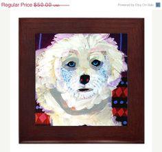 50 OFF  Bichon Frise art framed tile ceramic by HeatherGallerArt, $25.00