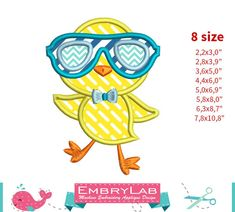 Applique Design Mini Easter Cool Chick With Glasses by EmbryLab