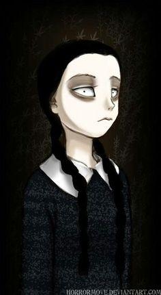 Epic Wednesday Addams art, by horrormove on DeviantART