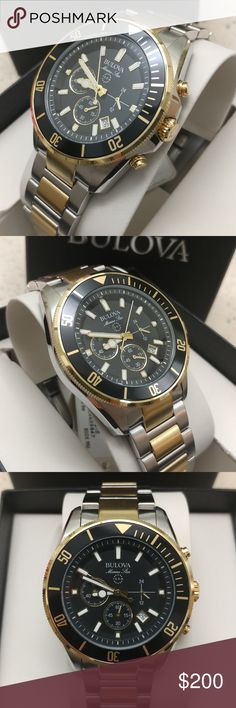 New Bulova Mens Chronograph 98B249 About this item  Features  Stainless Steel With Silver-tone And Gold-tone  Black Dial Face  Flat Mineral Glass  Six-hand Calendar Chronograph  Product information  Product Dimensions4.5 x 4.1 x 3.7 inchesItem Weight12 ouncesShipping Weight12 ouncesDepartmentMensManufacturerBulovaASINB00E3VAR5KManufacturer reference98B249Customer Reviews4.3 out of 5 stars2Reviews Accessories Watches