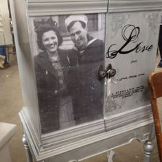 Picture Cabinet With Typography  (that's a pic of her grandparents on their wedding day!)