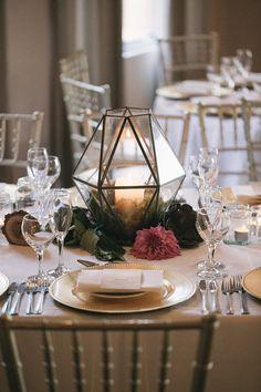 Geometric centrepiece for modern woodland wedding | Siempre Weddings | See more: http://theweddingplaybook.com/design-file-whimsical-garden-wedding-reception/