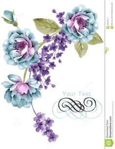 Watercolor Illustration Flower In Simple Background Stock Illustration - Image: 43419117