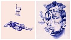 Nuria Riaza makes the ballpoint pen a tool for creating surreal pieces.