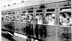 A train load of Boy Scouts. Feb 1938. On arrival the boys will go under canvas at Pompallier Camp, Green Bay.
