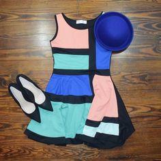 COLOR BLOCK SKATER DRESS BRAND NEW NEVER WORN  NO TRADE  ‼️PRICE FIRM‼️ Beauty Angel Dresses
