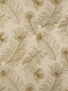 A bevy of glistening feathers are strewn on a woven fabric-like background. This frothy gold peacock feather design adds French flavor. Take 10% off all metallic wallcoverings during August! | AmericanBlinds.com