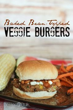 Baked Bean-Topped Veggie Burgers - a quick vegetarian dinner that is full of flavor and filling! This is not your ordinary veggie burger! #ad