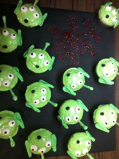 Toy Story Alien Cupcakes Lime green food coloring Mentos Black ...