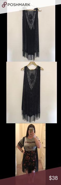Selling this NWT: black fringe duster on Poshmark! My username is: nichole6591. #shopmycloset #poshmark #fashion #shopping #style #forsale #Tops