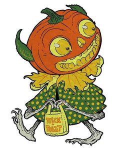Vintage Halloween Pumpkinhead Goblin trick or treat retro pumpkin head ghoul image clip art