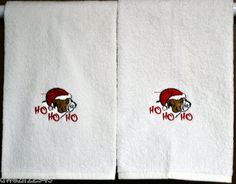 CHRISTMAS BULLDOG DOG HO HO HO - 2 EMBROIDERED HAND TOWELS by Susan