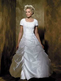 Ballgown Modest Wedding Dress with Great Drapes