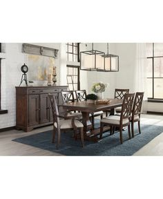 Dining room Kaffee Ess-Set - Trisha Yearwood Collection Kitchen Cabinets Cleaning Tips Th Dinning Set, 7 Piece Dining Set, Dining Room Design, Patio Design, Dining Room Furniture, Dining Room Table, House Furniture, Dining Rooms, Pedestal Table Base