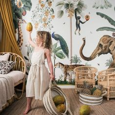 raja home rattan kids furniture bohemian kids bedroom with tropical wallpaper