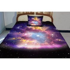 The galaxy bedding set is 3D printing, very clear, soft and smooth. Both sides has the same pattern printing. The set including quilt cover, sheet and two pill…