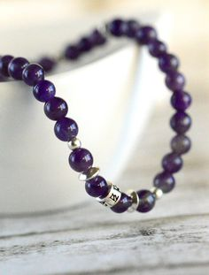 Stackable Bracelet Purple Bracelet Amethyst by AnnesJewellery
