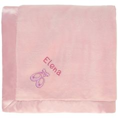 baby girl blanket in pink with a cute embroidered Ballet Slippers. Pink Baby Blanket, Baby Girl Blankets, Greek Baby Girl Names, Welcome Baby Girls, Unusual Baby Names, Baby Embroidery, Embroidery Stitches, Floral Logo, Sleep Sacks