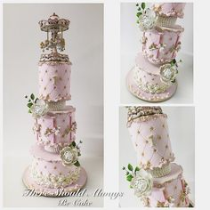 A post from Vintage Carousel Birthday Cake Cupcakes, Cupcake Cakes, Circus Cakes, Quince Cakes, Carousel Cake, Big Wedding Cakes, Crown Cake, 1st Birthday Cakes, Fancy Cakes