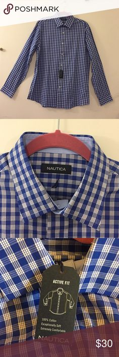 NWT Men's Blue Plaid Nautica Long Sleeve Shirt Men's Blue Plaid Nautica Button Down Long Sleeve Shirt. NWT and great for Fall! Fabric is 100% cotton and has an Active Fit. Nautica Shirts