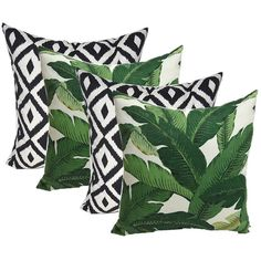 Green Tropical Palm Leaf Black and White Aztec Geometric (95 AUD) ❤ liked on Polyvore featuring home, home decor, outdoor home decor, outdoor palm trees, black and white palm trees, black and white palm and outside home decor