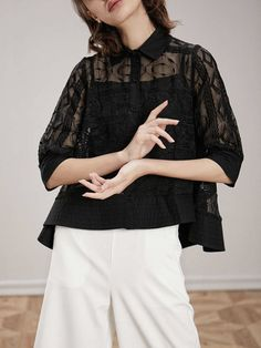 Shop Blouses - Casual See-through Look Organza Shirt Collar 3/4 Sleeve Blouse online. Discover unique designers fashion at StyleWe.com.
