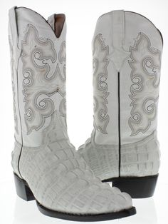 2cf1edc089d7 Men s crocodile alligator off white tail western cowboy boots rodeo dress new  Alligator Boots