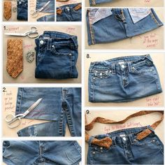 Chic Bag Made of Old Jeans DIY A short and sweet tutorial on how to turn a pair of old denim jeans into a nice purse or tote bag. The post Chic Bag Made of Old Jeans DIY appeared first on Denim Diy. Diy Jeans, Jeans Sobre Jeans, Sewing Jeans, Sewing Diy, Bags Sewing, Cut Up Shirts, Old Shirts, Tee Shirt Fila, Jean Diy
