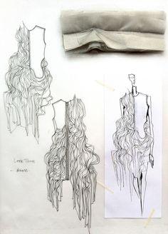 Fashion Sketchbook - fashion design drawings with fabric manipulation ideas & fabric samples for development; fashion portfolio // Connie Blackaller