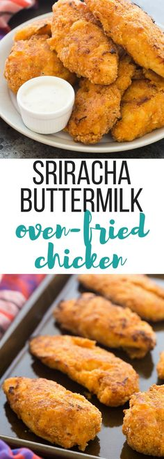 This Crispy Sriracha Buttermilk Oven Fried Chicken is so moist and juicy with just the right amount of spice! It's baked and not fried so it's healthier, but you still get that great crunchy coating. Includes a step by step recipe video. | easy dinner recipe | healthy recipe | low fat | healthy dinner | chicken dinner recipe | spicy chicken