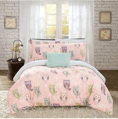 Chic Home Asio 4 Piece Reversible Quilt Set Cute It's A Hoot Owl Friends Youth Design Bed in a Bag - Decorative Pillow Shams Included, Full Size, Pink Duvet, Twin Comforter, Bedding Sets, Owl Bedding, Bed Design, House Design, Bed In A Bag, Twin Quilt, Bed Styling