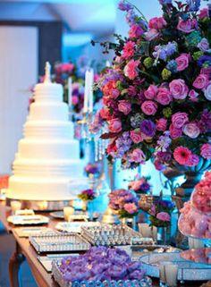 Decoração de casamento cores: lilas e rosa