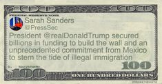 Sarah Huckabee Sanders Money Quote saying to President Trump and his supporters, that he's achieved (anti-) immigration goals, as children are separated from their parents and caged at the bo… Money In Politics, Sarah Huckabee Sanders, Money Quotes, Wall
