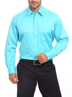 Now give your personality a dash of inimitable style with this light blue formal shirt presented to you by Color Plus. The vibrant color of this striking solid shirt makes a definitive style statement. The relaxed regular fit renders this shirt with an unmatched comfort. Endowed with a smart cut this shirt oozes classy style. The shirt comes with full sleeves and regular collar. Thanks to its chic look this shirt is perfect for everyday wear and ideal for donning during special occasions ...