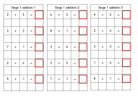 Stage 1 sum card with simple sums 1- 9