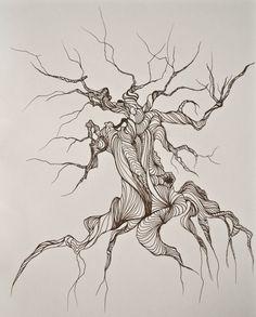 Tree line drawing tree art pen and ink 8x10 par BoundbyEmilyMagone