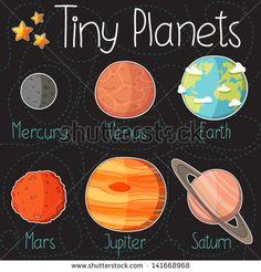 Coleção de autocolantes de planetas  de Mercúrio a Saturno. Ícones desenhos animados de planetas. Elementos infantil para livro de recortes. Fundo infantil. Ilustração vetorial desenhada `a mão.