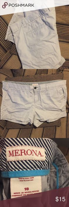 LOT of 2 Merona women's shorts Two pairs of women's Merona shorts, NWOT. Both size 18, dove grey shorts have approximately 2 inch inseam, black are approximately 5 inch inseam. Stock up on a summer essential! Merona Shorts