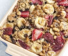 Baked Oatmeal Recipe with Strawberries, Bananas, & Chocolate