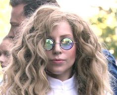 It's back to the sixties for Gaga with these circular specs! Celebrity Glasses, Celebrities With Glasses, Wildfox, Lady Gaga, High Fashion, Round Sunglasses, That Look, Couture, Round Frame Sunglasses