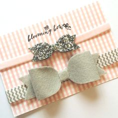Girls and Baby Headband Hair Bow Glitter Velvet- Soft Gray and Silver