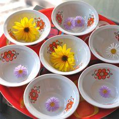 saladier et coupelles Fleurs Colditz vintage - deco-graphic.com