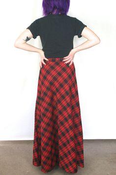 90s Grunge Plaid Maxi Skirt / Vintage High by RadloveVintage
