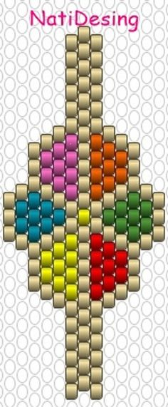 Miyuqui pattern - My Recommendations Peyote Stitch Patterns, Beading Patterns Free, Bead Loom Patterns, Beading Tutorials, Bracelet Patterns, Diy Earring Holder, Bead Crochet Rope, Seed Bead Jewelry, Crystals