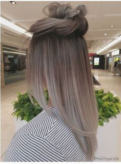 pinterest | campbellxsoup Ash Blonde Balayage Silver, Ash Ombre Hair, Dark Hair Grey Highlights, Balayage Hair Ash, Ash Grey Hair, Bayalage, Balayage Brunette, Silver Ombre Hair, Hair Color 2018