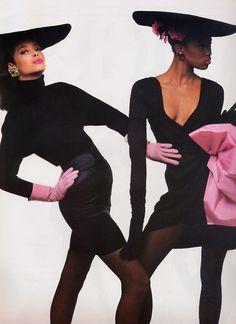 Christy Turlington and Naomi Campbell for Vogue France, August 1987, Designer, Image Uncredited.