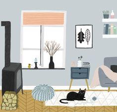 пример стильного интерьера (без печки) +сочные акценты interior Illustration by Tina Schulte, Jan 2018
