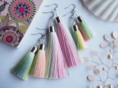 Unicorn tail tassel earrings Pastel rainbow shades Three | Etsy Unicorn Tail, Pink Tassel Earrings, Rectangle Shape, Perfect For Me, Light Shades, Beautiful Earrings, Tassels, Rainbow, Drop